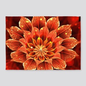 Red Dahlia Fractal Flower with Beau 5'x7'Area Rug