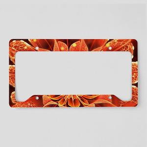 Red Dahlia Fractal Flower wit License Plate Holder