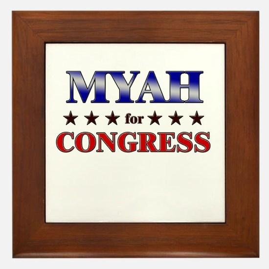 MYAH for congress Framed Tile