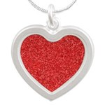 Martian Red Silver Heart Necklace