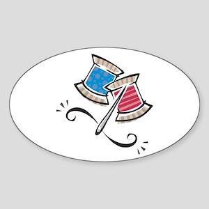 Cute Needle & Thread Design Oval Sticker