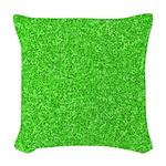 Martian Green Woven Throw Pillow