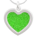 Martian Green Silver Heart Necklace