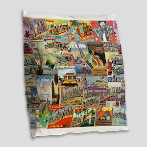 USA Postcards Burlap Throw Pillow