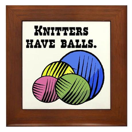 Knitters Have Balls! Framed Tile