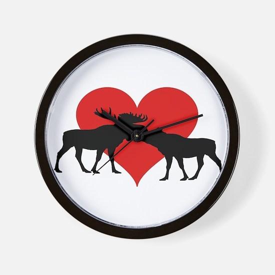 Moose Bull and Cow Wall Clock