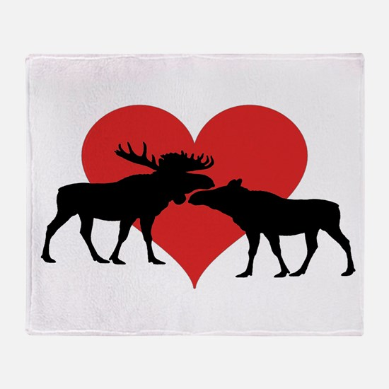 Moose Bull and Cow Throw Blanket