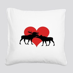 Moose Bull and Cow Square Canvas Pillow