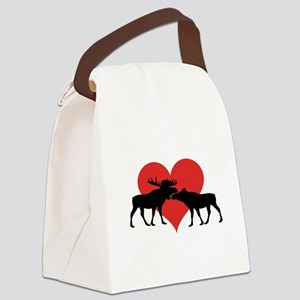 Moose Bull and Cow Canvas Lunch Bag
