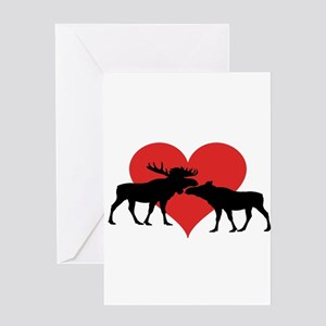 Moose Bull and Cow Greeting Cards