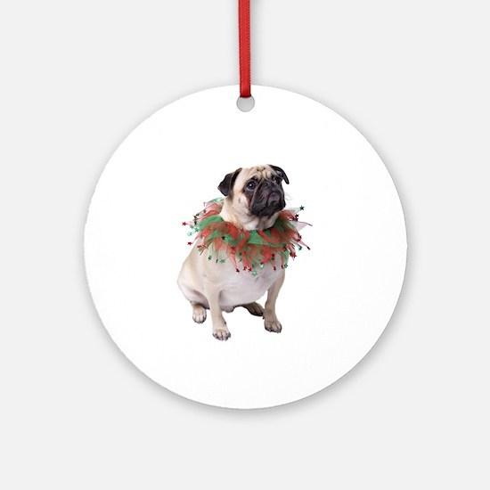Festive Christmas Pug Ornament (Round)