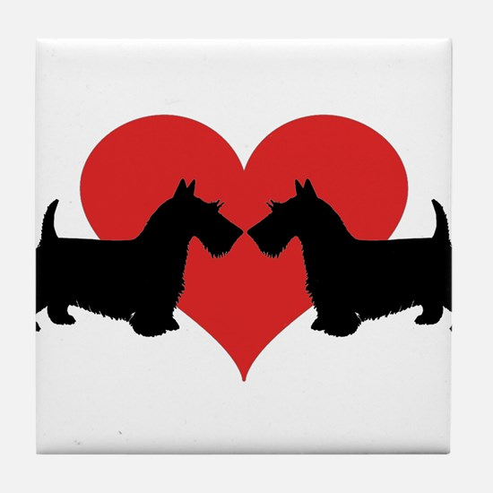 Scottish Terrier couple Tile Coaster