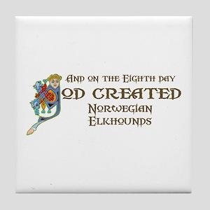 God Created Elkhounds Tile Coaster