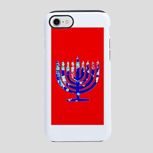 Red Vibrant Menorah Hanukkah iPhone 8/7 Tough Case