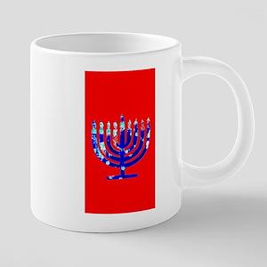 Red Vibrant Menorah Blue Hanukkah Mugs