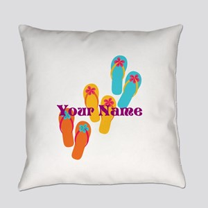 Personalized Flip Flops Everyday Pillow