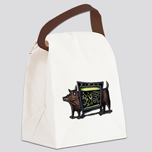 Dog in X-Rax Shows Things He's Ea Canvas Lunch Bag