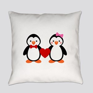 Cute Penguin Couple Everyday Pillow