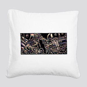 Movie Cameras on Black Backgr Square Canvas Pillow