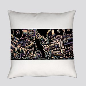 Movie Cameras on Black Background Everyday Pillow