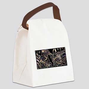 Movie Cameras on Black Background Canvas Lunch Bag