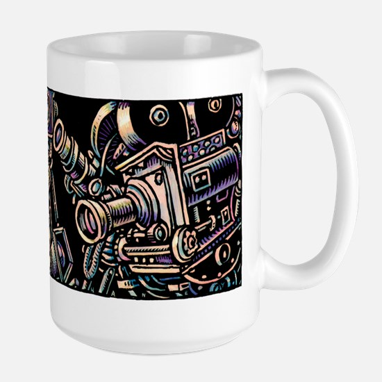 Movie Cameras on Black Background Mugs