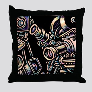 Movie Cameras on Black Background Throw Pillow