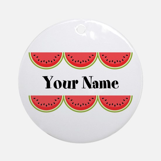 Watermelons Personalized Round Ornament