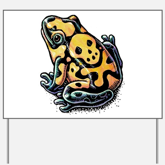 Poisonous Frog With Skull And Crossbones Yard Sign