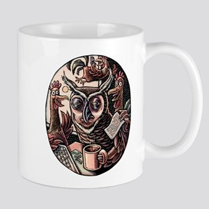 Tired Owl and Rooster Coworkers Mugs