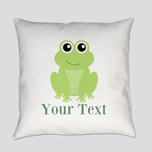 Personalizable Green Frog Everyday Pillow