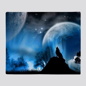 Wolf at night Throw Blanket