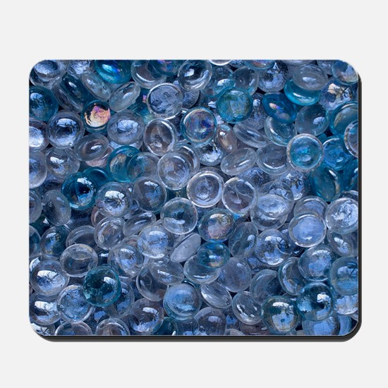 Blue and Clear Glass Marbles in Water Mousepad