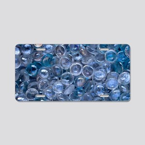Blue and Clear Glass Marble Aluminum License Plate