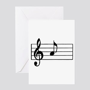 'A' Musical Note Greeting Cards