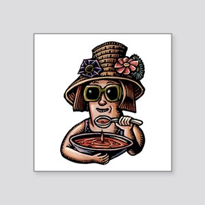 Soup Eating Woman in Hat Sticker
