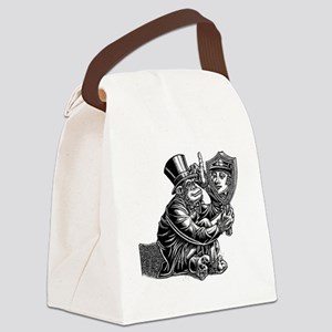Proud Monkey Looks in Mirror and Canvas Lunch Bag