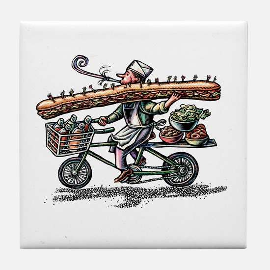 Sandwich Delivery Man with Huge Sub Tile Coaster