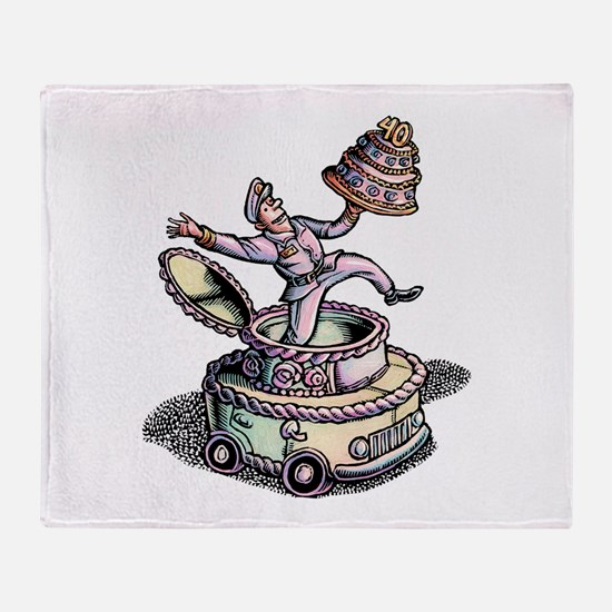 Cake Delivery Man in Cake Car Throw Blanket
