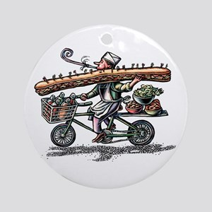 Sandwich Delivery Man with Huge Sub Round Ornament