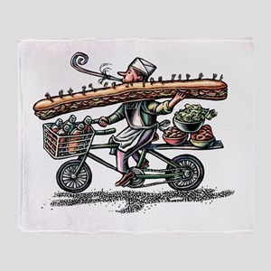 Sandwich Delivery Man with Huge Sub Throw Blanket