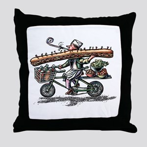 Sandwich Delivery Man with Huge Sub Throw Pillow