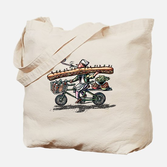 Sandwich Delivery Man with Huge Sub Tote Bag