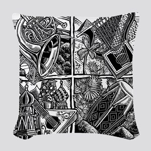 World Music Instruments Woven Throw Pillow