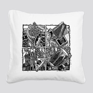 World Music Instruments Square Canvas Pillow