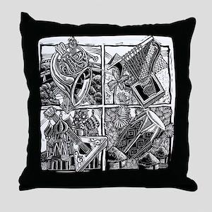 World Music Instruments Throw Pillow
