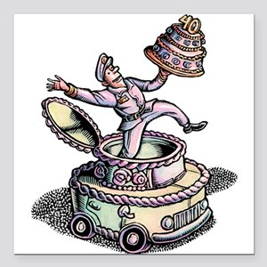 """Cake Delivery Man in Cak Square Car Magnet 3"""" x 3"""""""