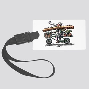 Sandwich Delivery Man with Huge Large Luggage Tag