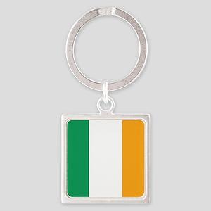 Irish Tricolour Square - flag of Ireland Keychains