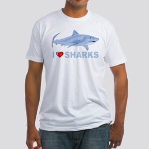 I Love Sharks Fitted T-Shirt